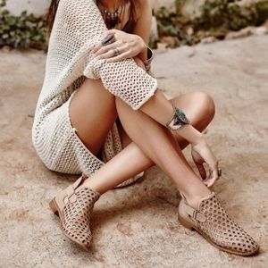 Musse & Cloud Perforated Nude Taupe Boot Bootie